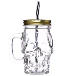 MASON - Dödskalleformad glasburk med metalllock