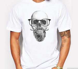 HIPSTER TEE - Vit T-shirt med döskalletryck