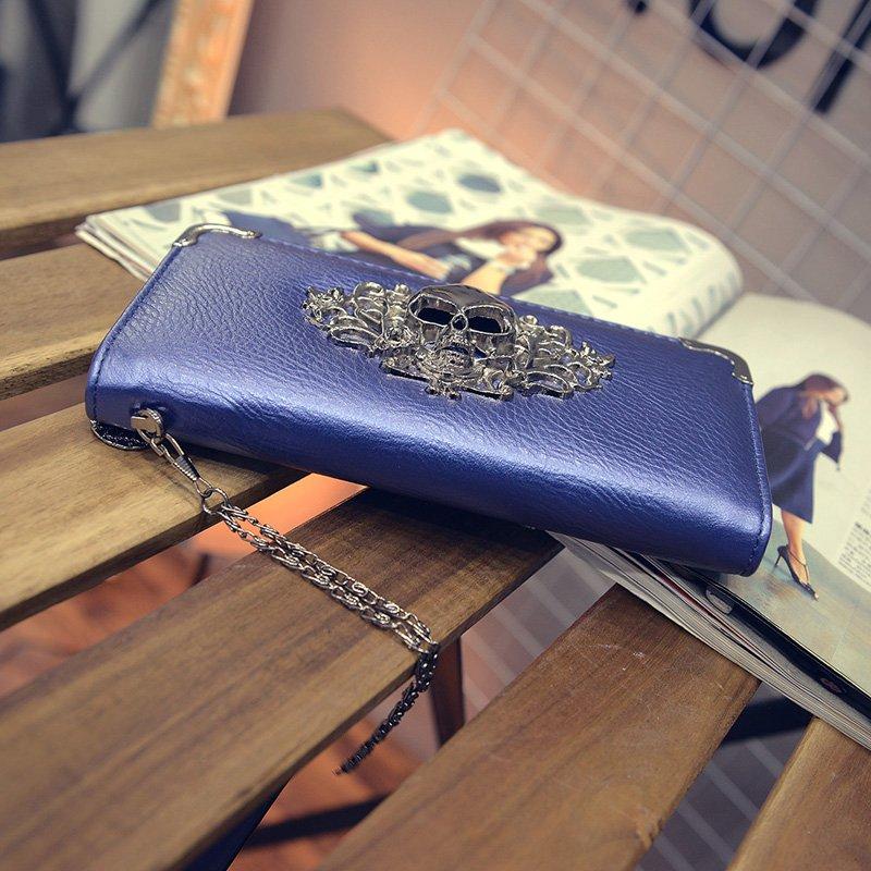MONEY FOR NOTHING - Blå plånbok med dödskalle