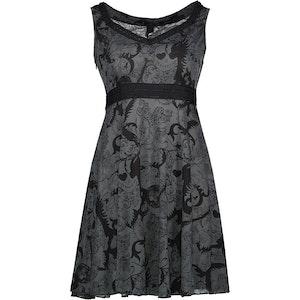 DRESSING - Klänning i grått och svart med dödskallar