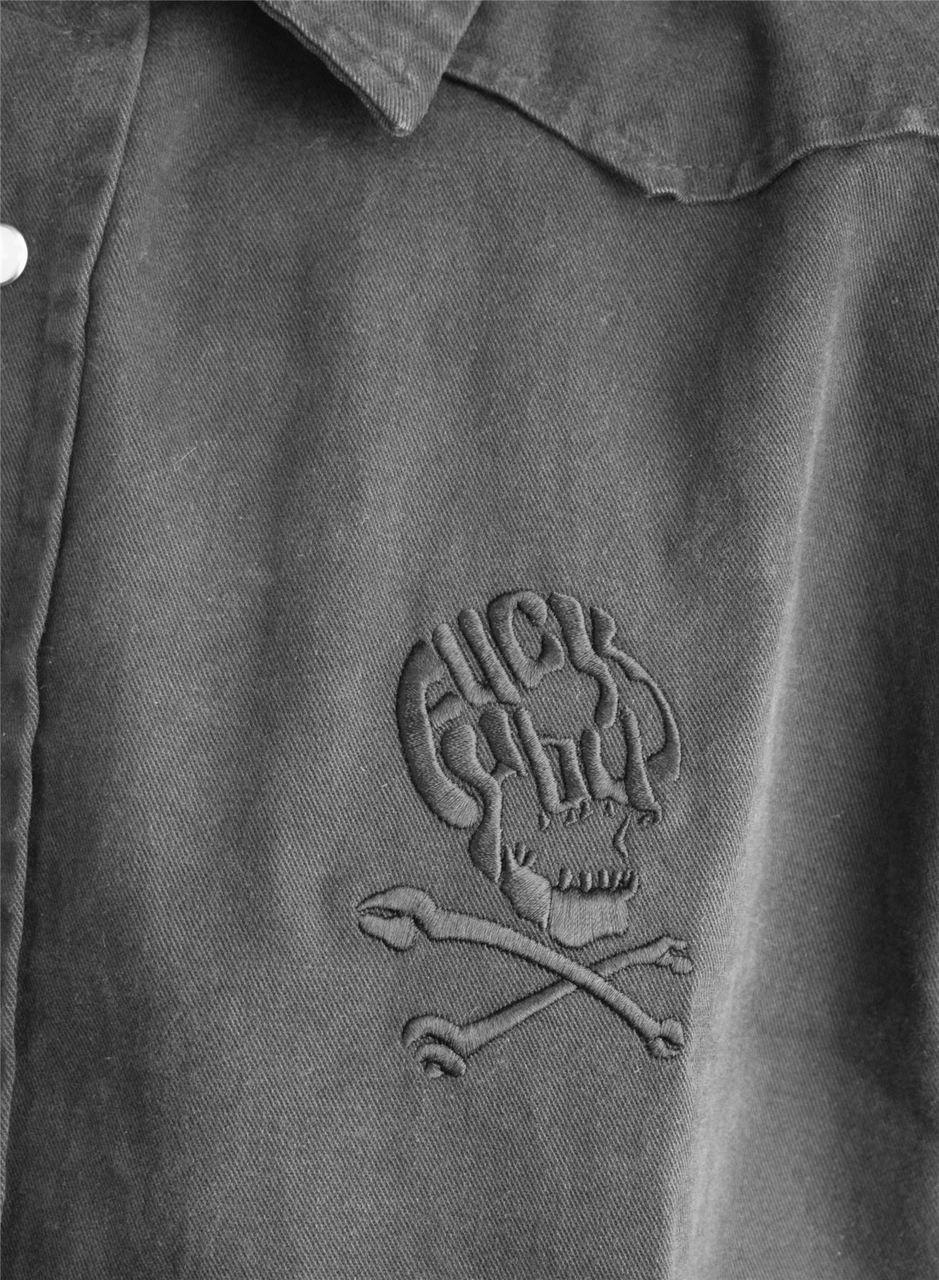 DARKSIDE - F ck You Skull Embroidered Workshirt