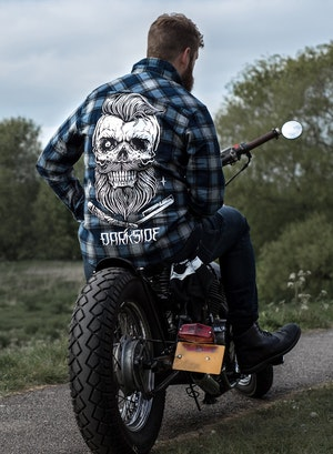 DARKSIDE - Bearded Skull Grey and Blue Checked Shirt