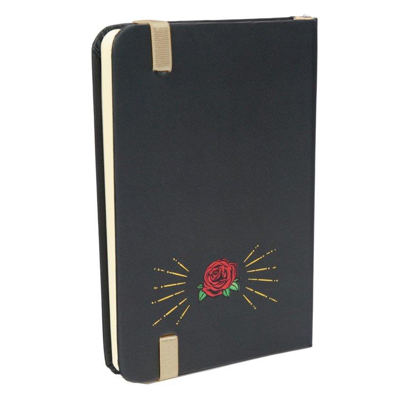 MEMO -  Anteckningsbok dödskalle i svart, guld och rosor