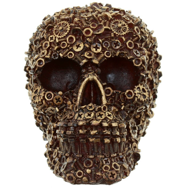 MUTTER - Dekoration dödskalle med muttrar, skruvar och bultar