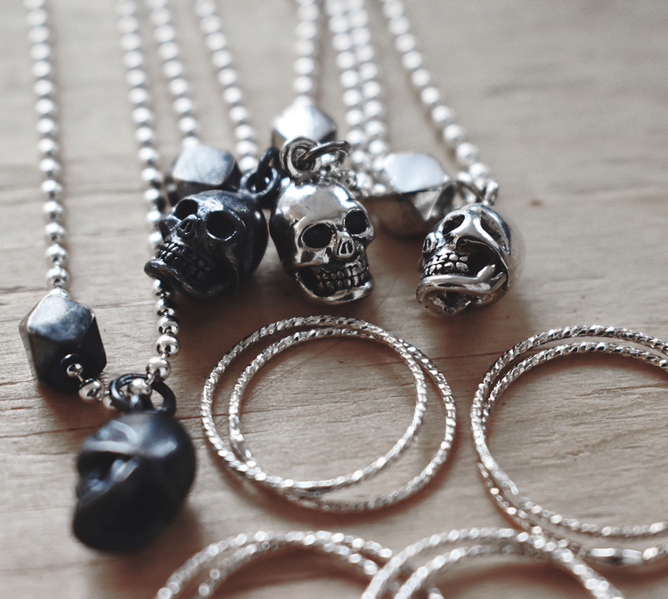 Unisex Skull Necklace  oxidized