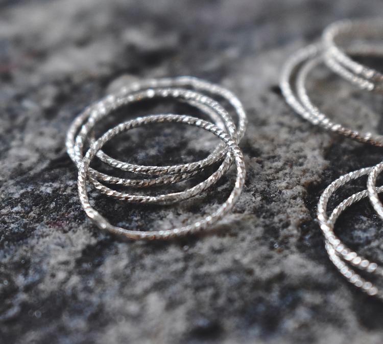 Diamond cut ring silver