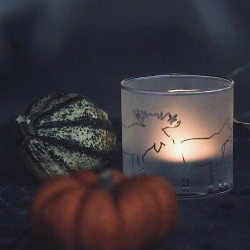 63123 Frosted candelholder / Frostad glaslykta älg