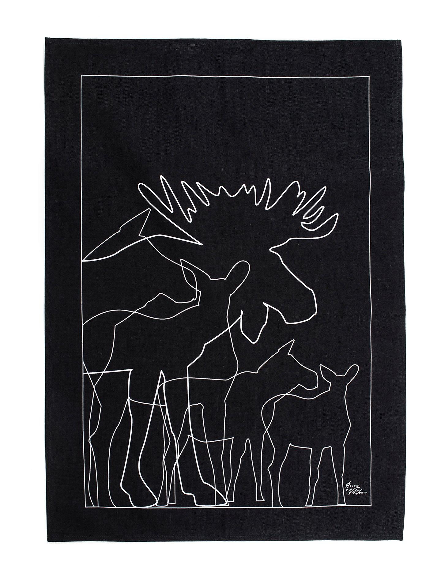 62822 KITCHEN TOWEL MOOSE BLACK/ KÖKSHANDDUK ÄLG SVART