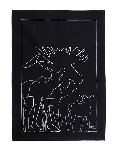 62822 KITCHEN TOWEL MOOSE BLACK/ KÖKSHANDDUK ÄLG SVART