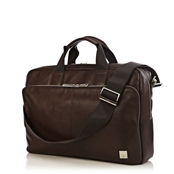 "Knomo Amesbury Double Zip Briefcase 15.6"" - Brown"