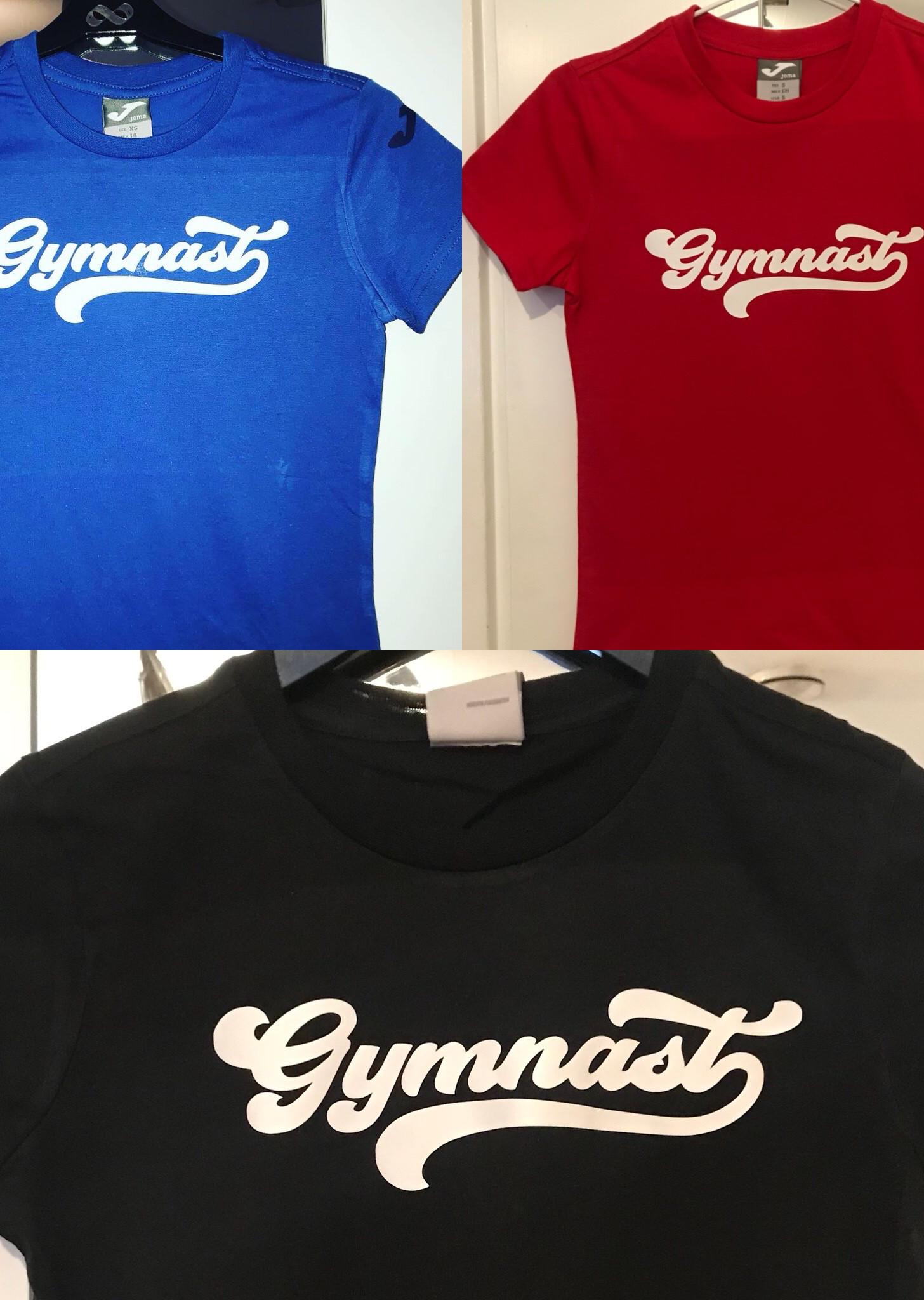T-shirt med gymnastics tryck i vinyl