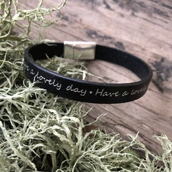 Läderarmband, Have a lovely day, svart