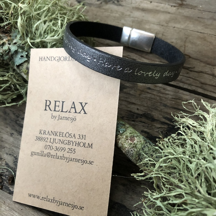 Läderarmband, Have a Lovely day, grått