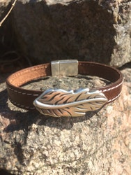 Läderarmband, FEATHER, brunt m. sömmar