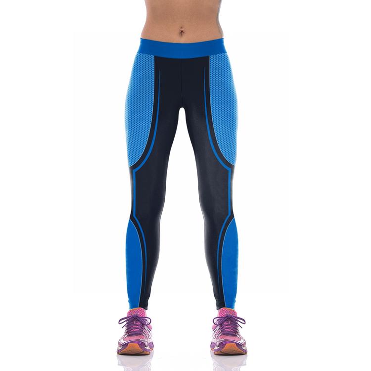 Svart Blå Sport Leggings