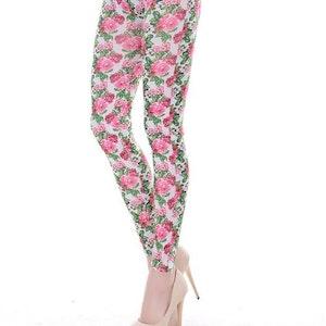 Vita leggings med rosa blommor