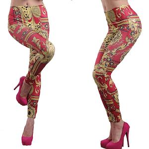 Röda mönstrade leggings