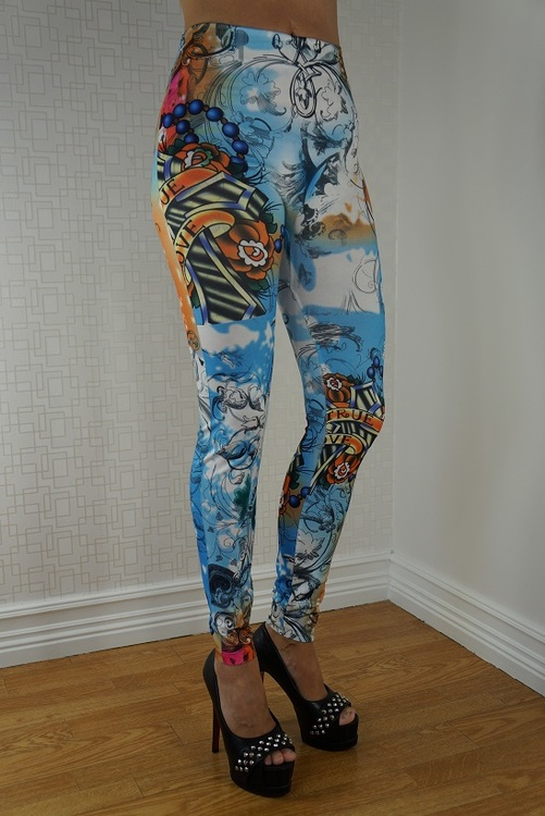 Blue Tattoo Leggings