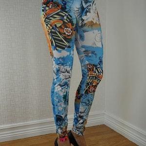 Blue Tattoo Leggings Fynd