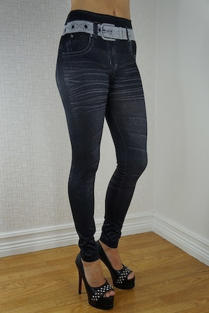Star Belt Black Leggings