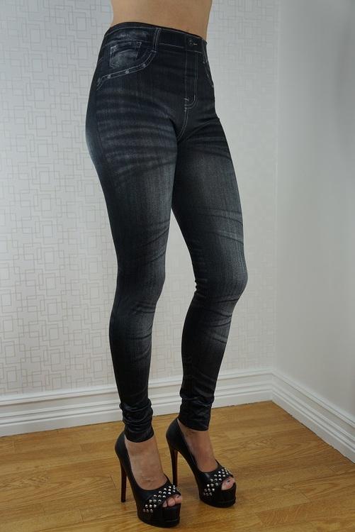 Slim Black Print Jeans Leggings