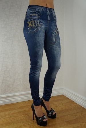 Double Fake Pocket Jeans Print Leggings