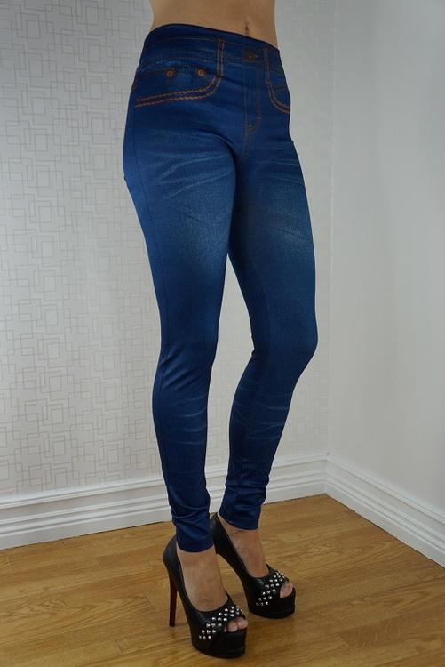 Fake Pocket Blue Jeans Print Leggings