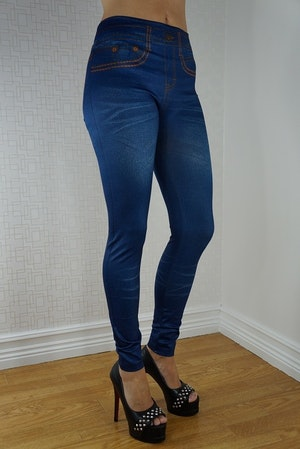 Fake Pocket Blue Jeans Print Leggings