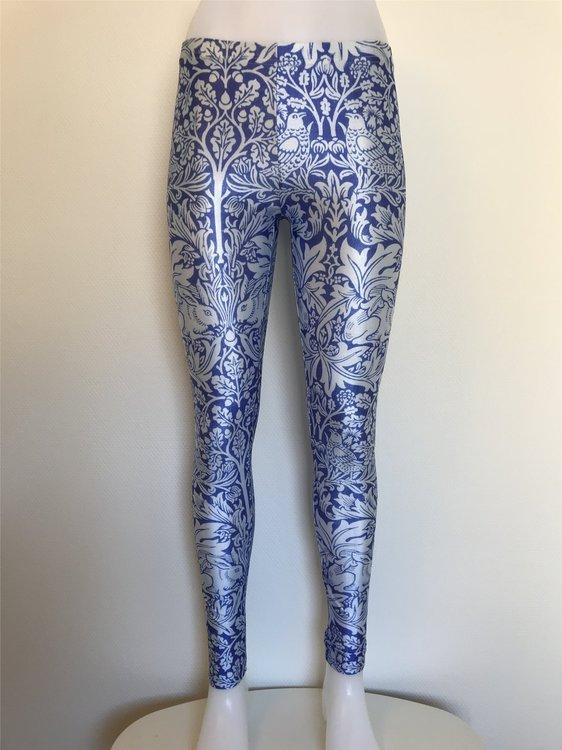 Blå Leggings med silvervitt mönster