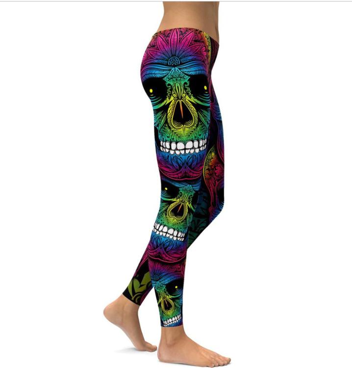 Färgglada Dödskalle leggings