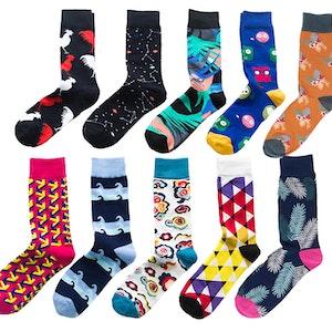 Trendiga Färgglada mönstrade strumpor sockar i 10 olika motiv