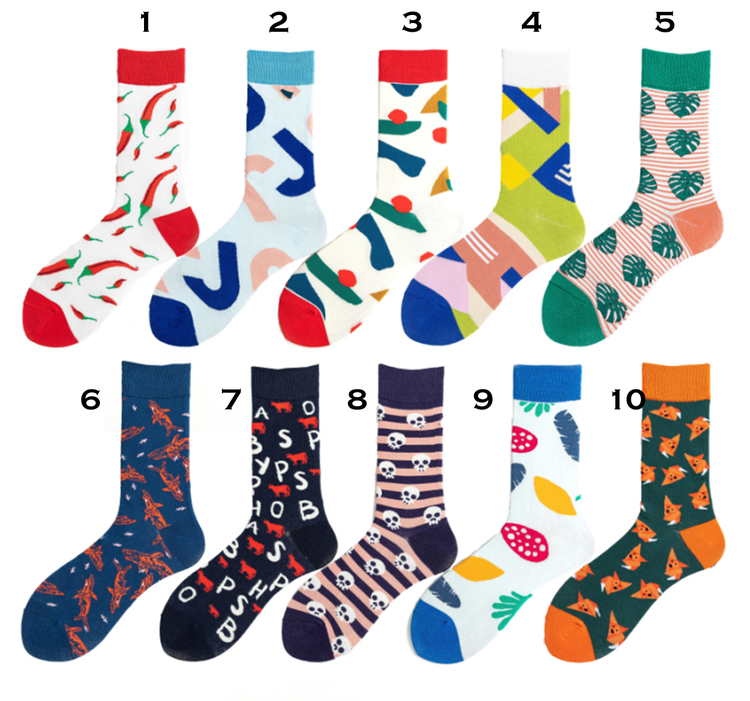 Färgglada mönstrade strumpor sockar i 10 olika motiv