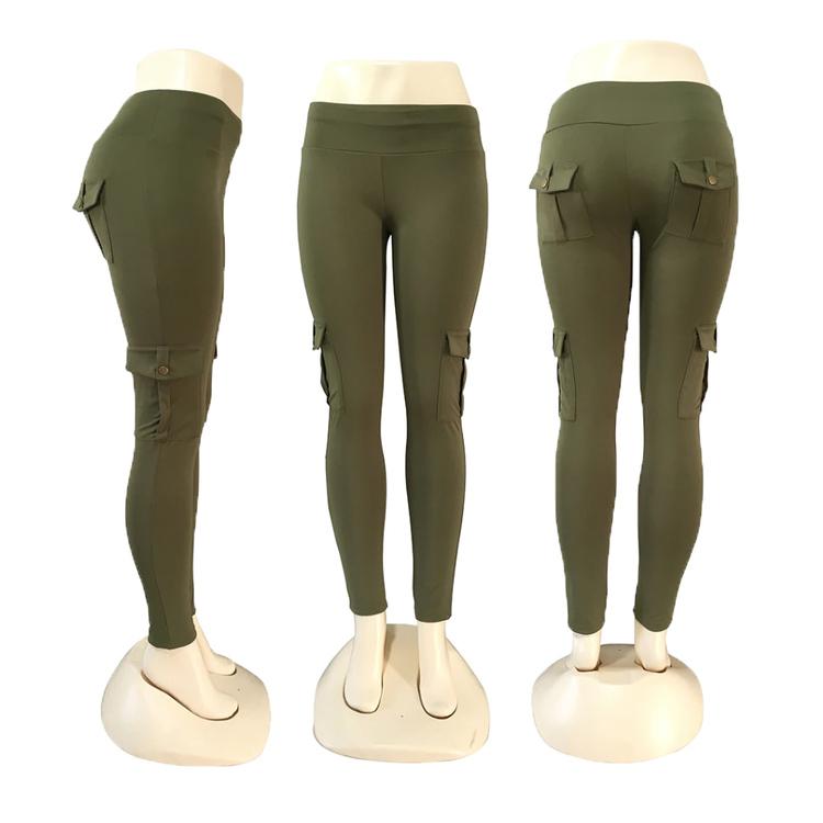Gröna Leggings med hög midja och fickor
