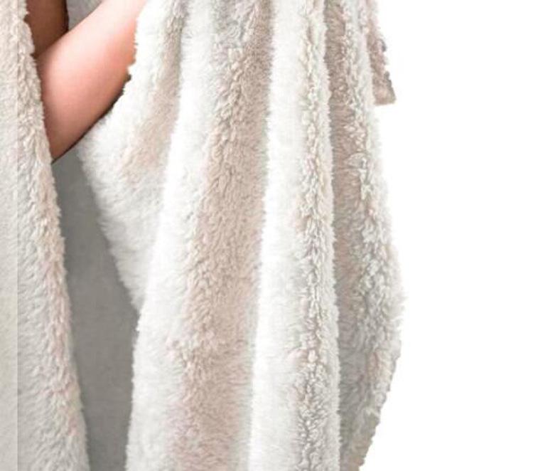 Stor Pläd Filt med huva och fleece 150 cm x 200 cm