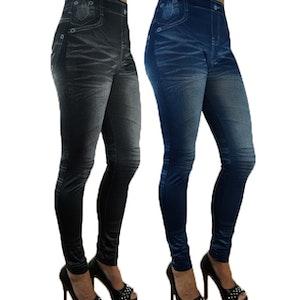 Black & Blue Stonewashed Leggings