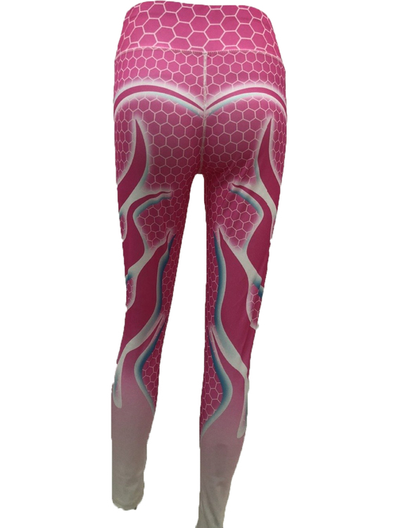 Rosa Yoga Leggings med Flammor