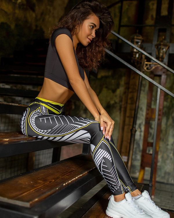 Svarta Mandala Sport Gym Tights