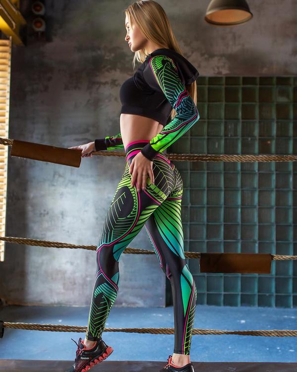 Gröna Mandala Sport Gym Tights