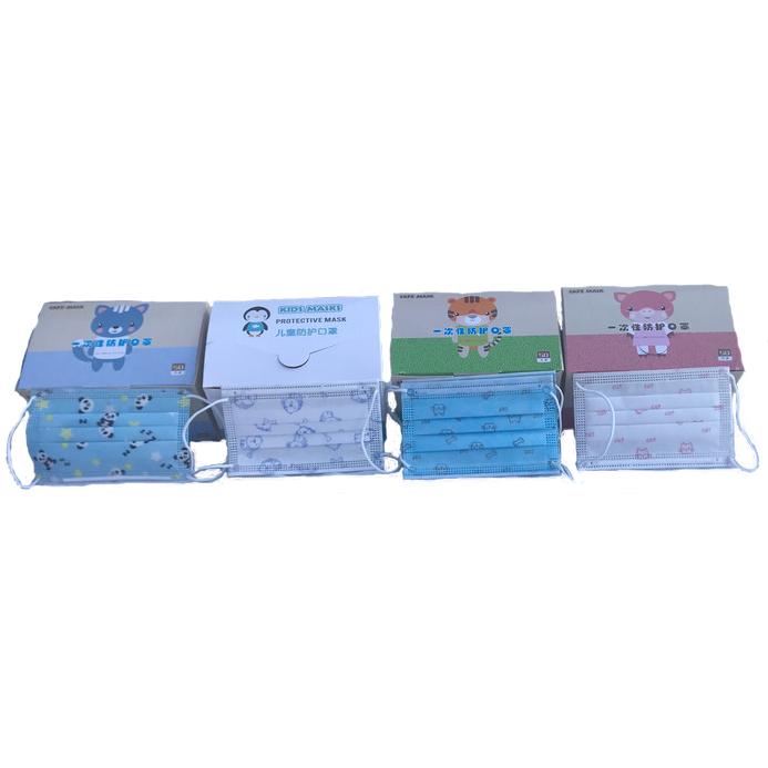 50–pack 3-lager munskydd med fyra olika motiv i dispenser Barn