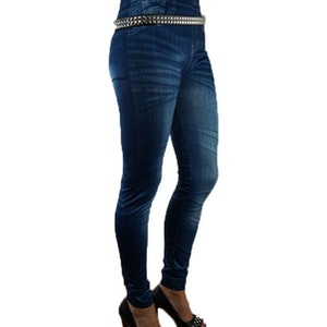 Slim Blue Print Jeans Leggings
