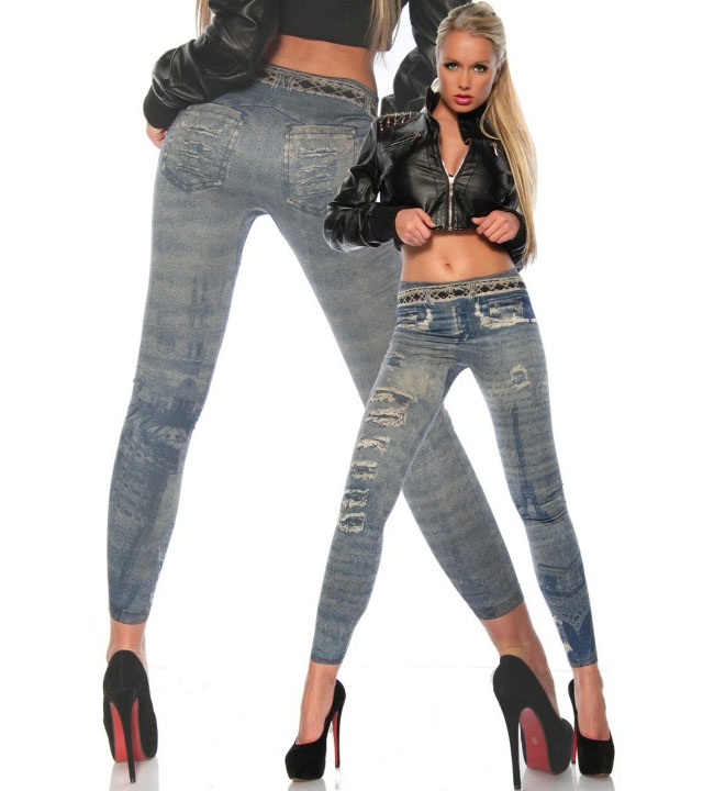 Leggings i jeanstryck