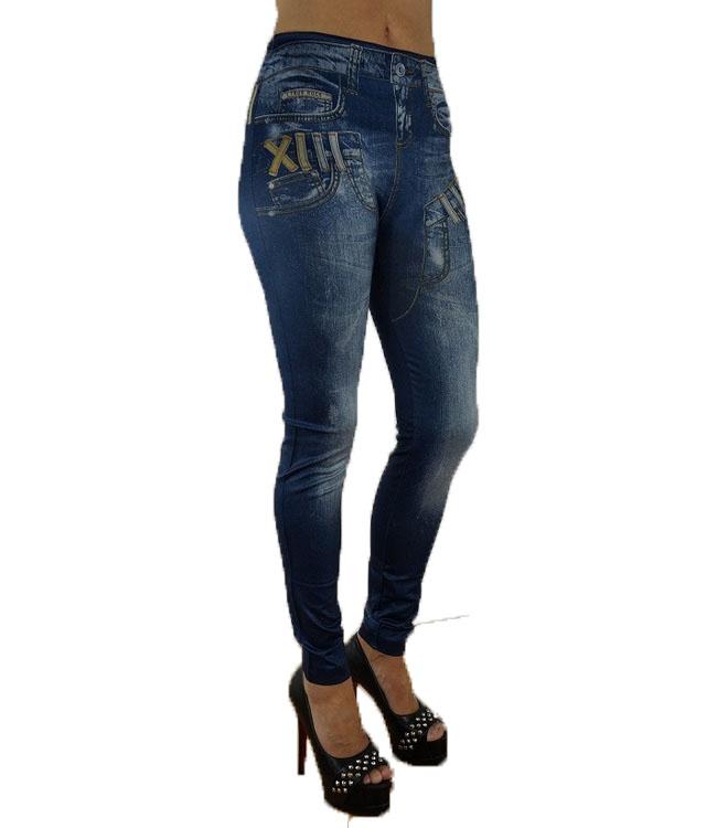 Double Fake Pocket Jeans Print Leggings