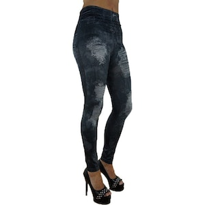 HOLE IMITATION JEANS PRINT BLACK LEGGINGS