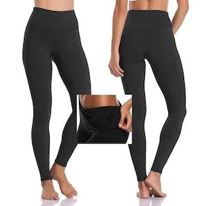 Svarta Leggings med ficka i midjan