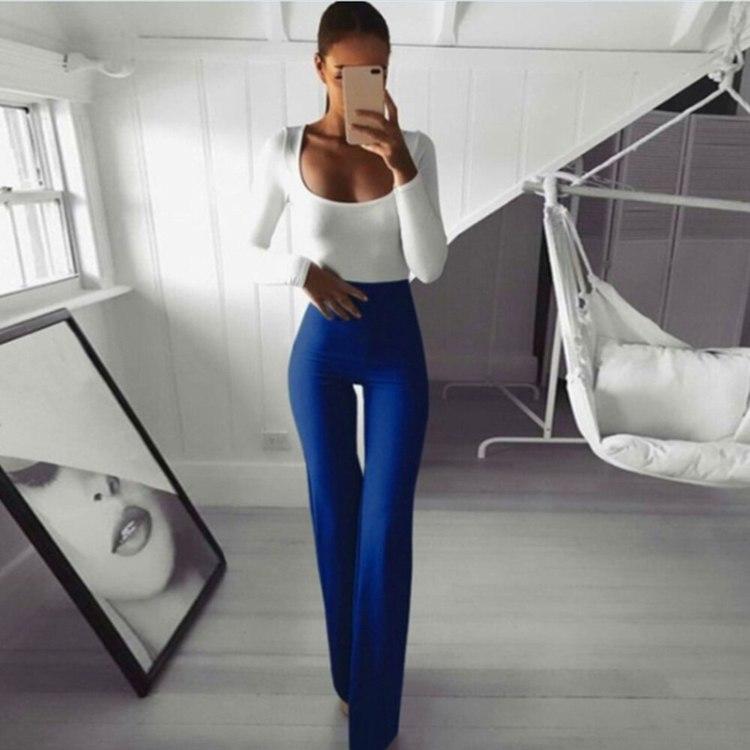 Blå Leggings med vida ben