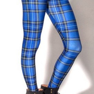 Blå rutiga tartan Leggings