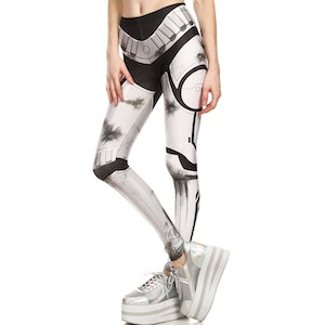 Vit Svarta Rustnings Leggings