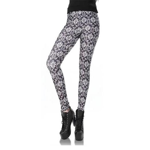 Svarta Leggings med vitt mönster
