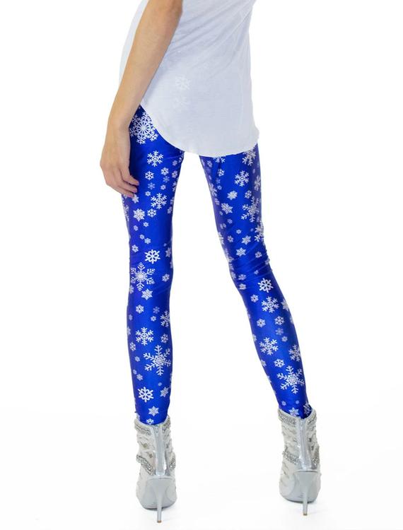 Blå Leggings med Vita Snöstjärnor