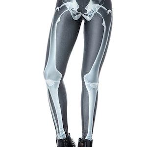 Svarta Leggings med Vitt Skelett